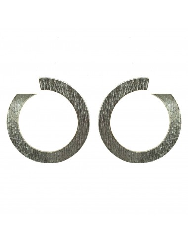 Architecture Hoop Earrings in Dark Sterling Silver