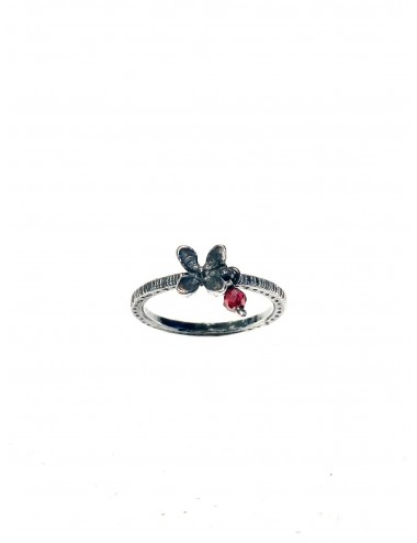 Petals Ring in Dark Sterling Silver with Red Circonita