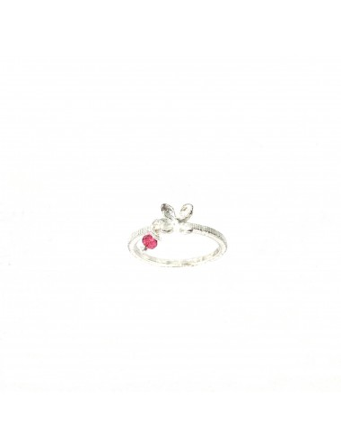 Petals Ring in Sterling Silver with Red Circonita