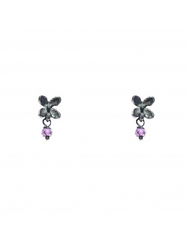Petals Button Earrings in Dark Sterling Silver with Purple Circonita Ball