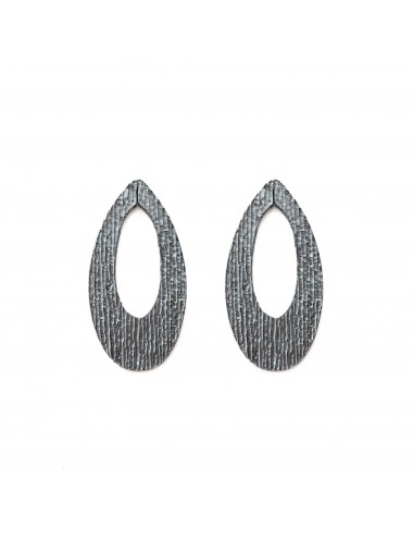 Architecture Oval Earrings in Dark Sterling Silver