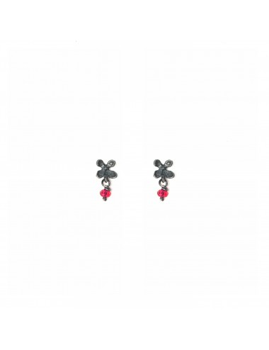 Petals Button Earrings in Dark Sterling Silver with Red Circonita Ball
