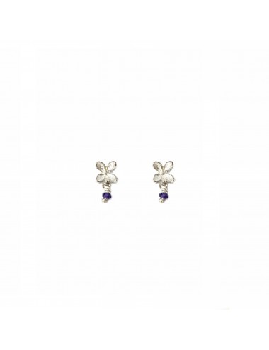 Petals Button Earrings in Sterling Silver with Purple Circonita Ball