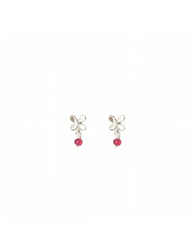Petals Button Earrings in Sterling Silver with Red Circonita Ball