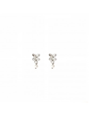 Petals Button Earrings in Sterling Silver with Pearl