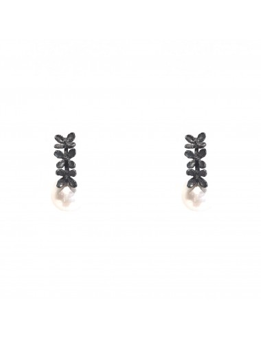 Petals Bar Earrings in Dark Sterling Silver with Pearl