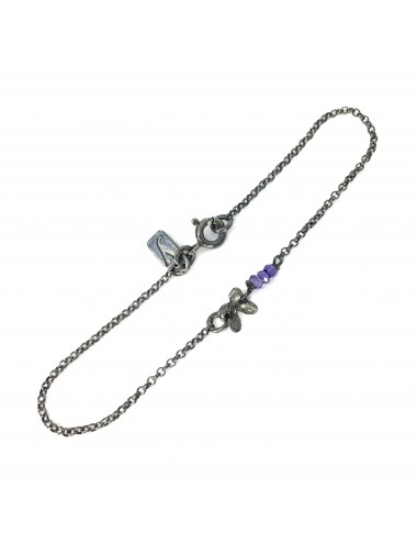 Petals Bracelet in Dark Sterling Silver with 3 Purple Circonita Balls