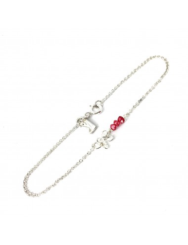 Petals Bracelet in Sterling Silver with 3 Red Circonita Balls