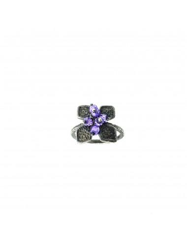 Petals small Flower Ring in Dark Sterling Silver with Purple Circonita Balls
