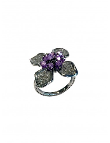 Petals medium Flower Ring in Dark Sterling Silver with Purple Circonita Balls