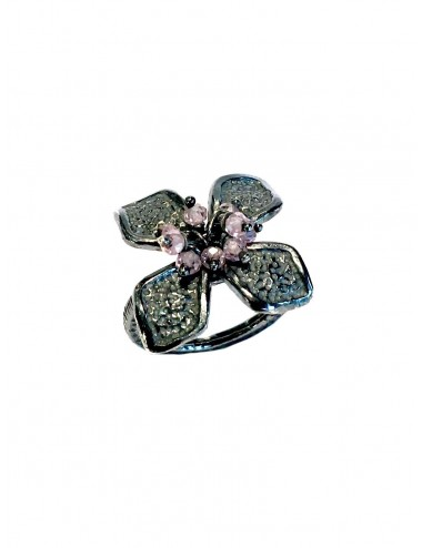 Petals medium Flower Ring in Dark Sterling Silver with Pink Circonita Balls