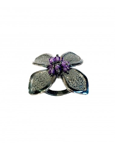 Petals large Flower Ring in Dark Sterling Silver with Purple Circonita Balls