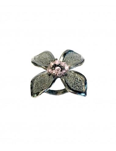 Petals large Flower Ring in Dark Sterling Silver with Pink Circonita Balls