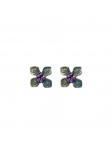 Petals small Flower Earrings in Dark Sterling Silver with Purple Circonita Balls