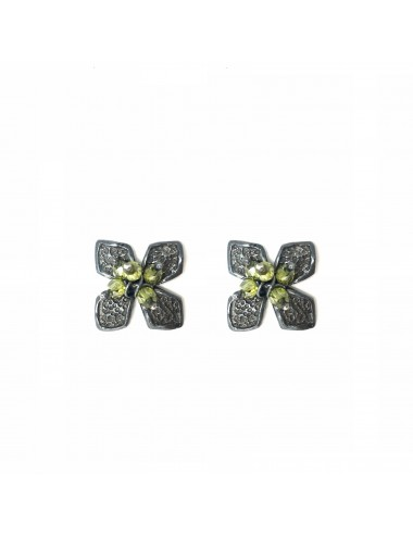 Pendientes Plata Oxidada Flor Pequeña Con Bolitas Circonita Verde Petalos