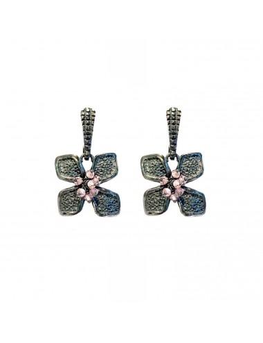 Petals medium Flower Earrings in Dark Sterling Silver with Pink Circonita Balls