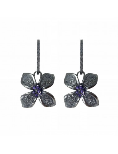 Petals large Flower Earrings in Dark Sterling Silver with Purple Circonita Balls