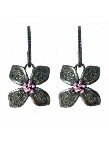 Petals large Flower Earrings in Dark Sterling Silver with Pink Circonita Balls