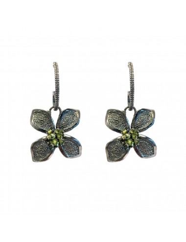 Petals large Flower Earrings in Dark Sterling Silver with Green Circonita Balls