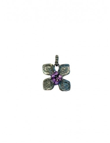 Petals small Flower Pendant in Dark Sterling Silver with Purple Circonita Balls