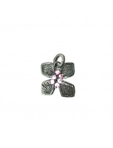 Petals small Flower Pendant in Dark Sterling Silver with Pink Circonita Balls