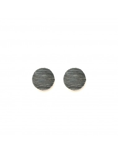 Architecture Circle Button Earrings in Dark Sterling Silver