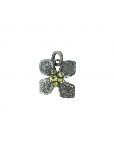 Petals small Flower Pendant in Dark Sterling Silver with Green Circonita Balls