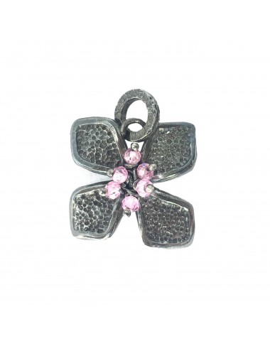 Petals medium Flower Pendant in Dark Sterling Silver with Pink Circonita Balls