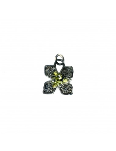 Petals medium Flower Pendant in Dark Sterling Silver with Green Circonita Balls