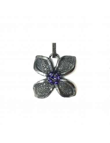 Petals large Flower Pendant in Dark Sterling Silver with Purple Circonita Balls