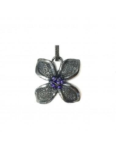 Petals large Flower Pendant in Dark Sterling Silver with Purple Circonita Balls