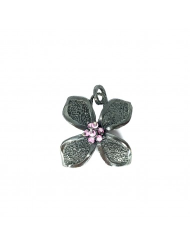 Petals large Flower Pendant in Dark Sterling Silver with Pink Circonita Balls