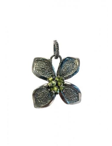 Colgante Plata Oxidada Flor Grande Con Bolitas Circonita Verde Petalos