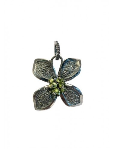 Petals large Flower Pendant in Dark Sterling Silver with Green Circonita Balls
