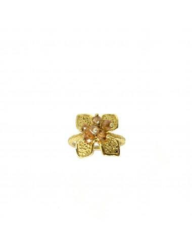 Sortija Oro Flor Pequeña Con Bolitas Circonita Beige Petalos