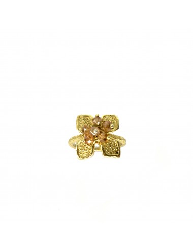 Petals small Flower Ring in Sterling Silver Vermeil with Beige Circonita Balls