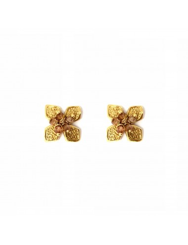 Petals small Flower Earrings in Sterling Silver Vermeil with Beige Circonita Balls