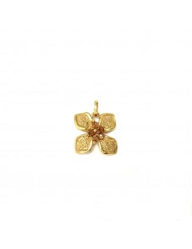 Colgante Oro Flor Pequeña Con Bolitas Circonita Beige Petalos