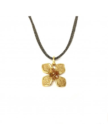 Petals medium Flower Necklace in Sterling Silver Vermeil with  Silk Cordon and Beige Circonita Balls