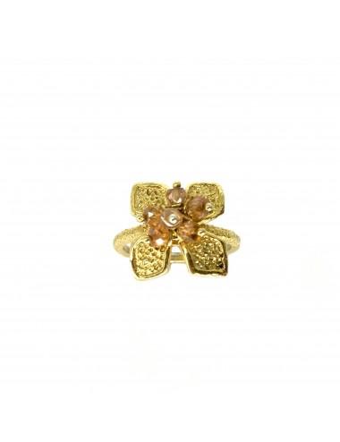 Petals medium Flower Ring in Sterling Silver Vermeil with Beige Circonita Balls