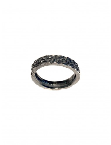 Punki Mesh Ring in Dark Sterling Silver