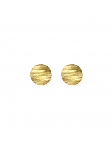 Architecture Circle Button Earrings in Sterling Silver Vermeil