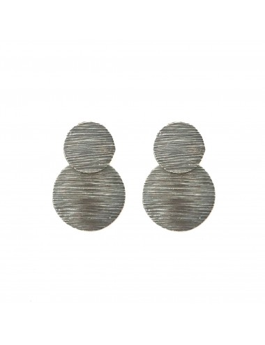 Architecture  2 Circles Earrings in Dark Sterling Silver