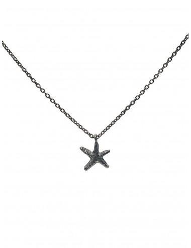 Gargantilla Plata Oxidada Cadena Estrella De Mar Punki