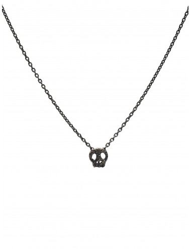 Punki Skull Necklace in Dark Sterling Silver
