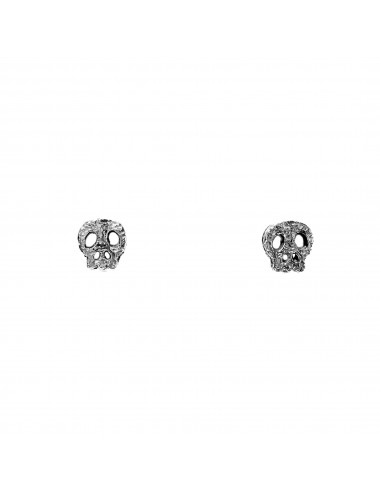 Punki Skull Button Earrings in Dark Sterling Silver