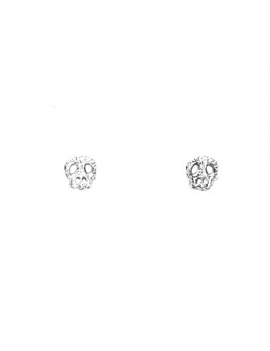 Punki Skull Button Earrings in Sterling Silver