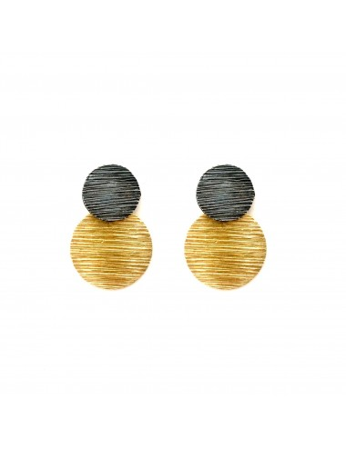 Architecture  2 Circles Earrings in Sterling Silver and Vermeil