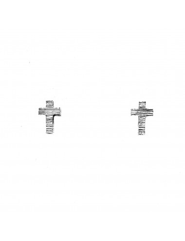 Punki Cross Button Earrings in Sterling Silver