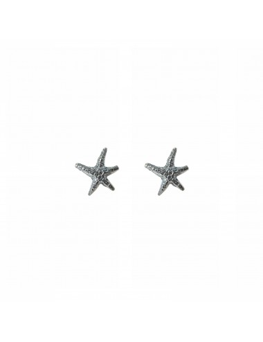 Pendientes Dormilona Plata Oxidada Estrella De Mar Punki